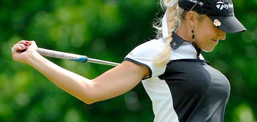 women golfer with big breast